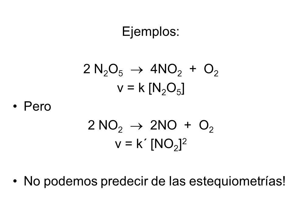 Ejemplos: 2 N 2 O 5 4NO 2 + O 2 v = k [N 2 O 5 ] Pero 2 NO 2 2NO + O 2 v = k´ [NO 2 ] 2 No podemos predecir de las estequiometrías!