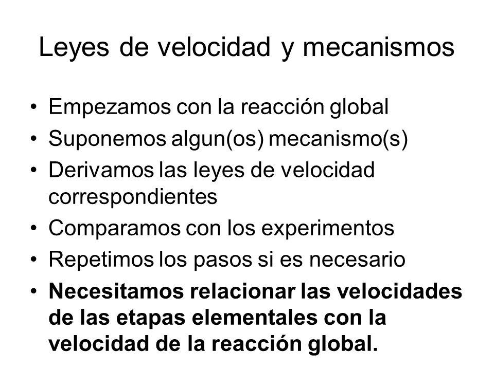 Leyes de velocidad y mecanismos Empezamos con la reacción global Suponemos algun(os) mecanismo(s) Derivamos las leyes de velocidad correspondientes Comparamos con los experimentos Repetimos los pasos si es necesario Necesitamos relacionar las velocidades de las etapas elementales con la velocidad de la reacción global.