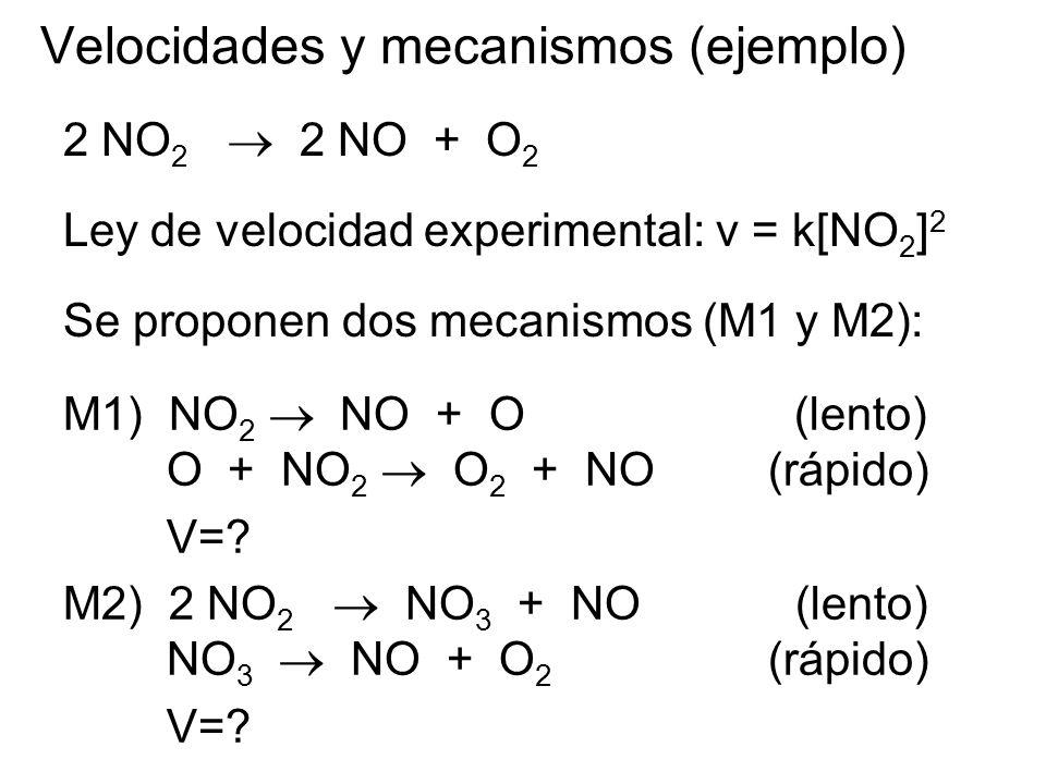 M1) NO 2 NO + O (lento) O + NO 2 O 2 + NO (rápido) V=? M2) 2 NO 2 NO 3 + NO(lento) NO 3 NO + O 2 (rápido) V=? Velocidades y mecanismos (ejemplo) 2 NO
