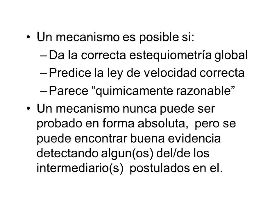 Un mecanismo es posible si: –Da la correcta estequiometría global –Predice la ley de velocidad correcta –Parece quimicamente razonable Un mecanismo nu