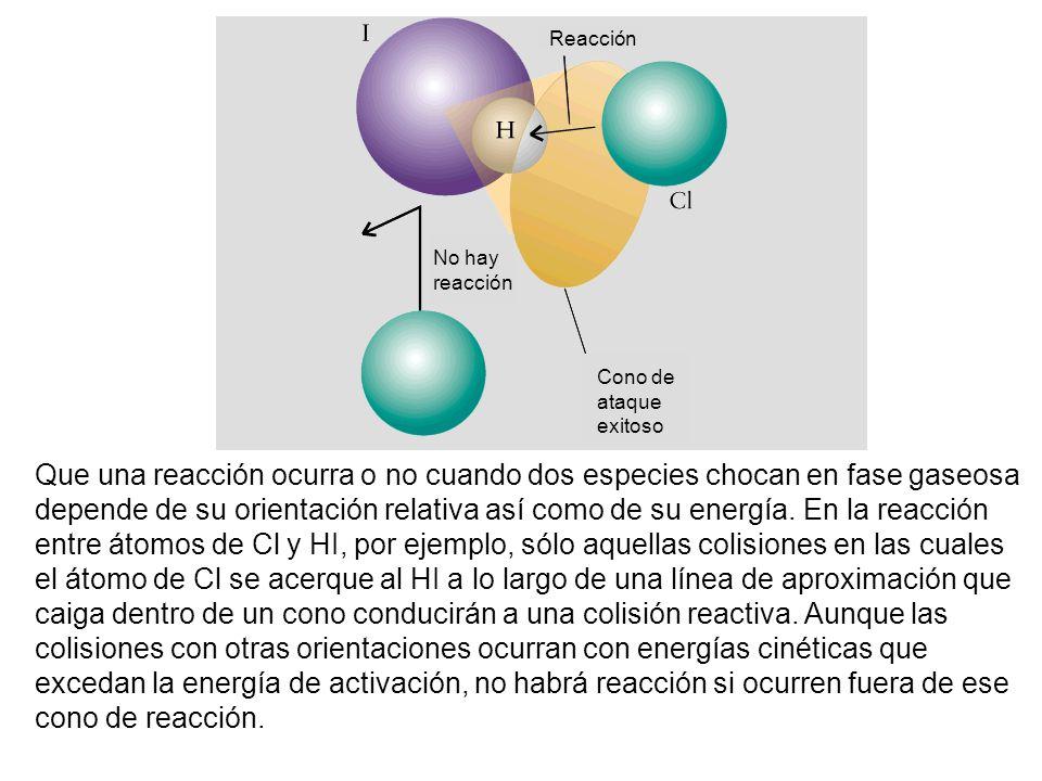Que una reacción ocurra o no cuando dos especies chocan en fase gaseosa depende de su orientación relativa así como de su energía.