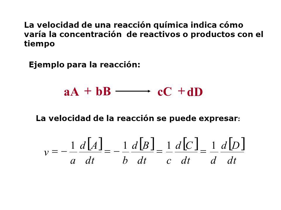 La velocidad de una reacción química indica cómo varía la concentración de reactivos o productos con el tiempo Ejemplo para la reacción: + aA + bB cC dD La velocidad de la reacción se puede expresar : dt Dd d Cd c Bd b Ad a v 1111
