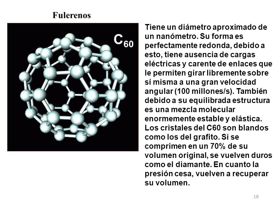 18 C 60 Fulerenos Tiene un diámetro aproximado de un nanómetro.