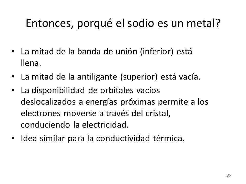 Entonces, porqué el sodio es un metal.La mitad de la banda de unión (inferior) está llena.