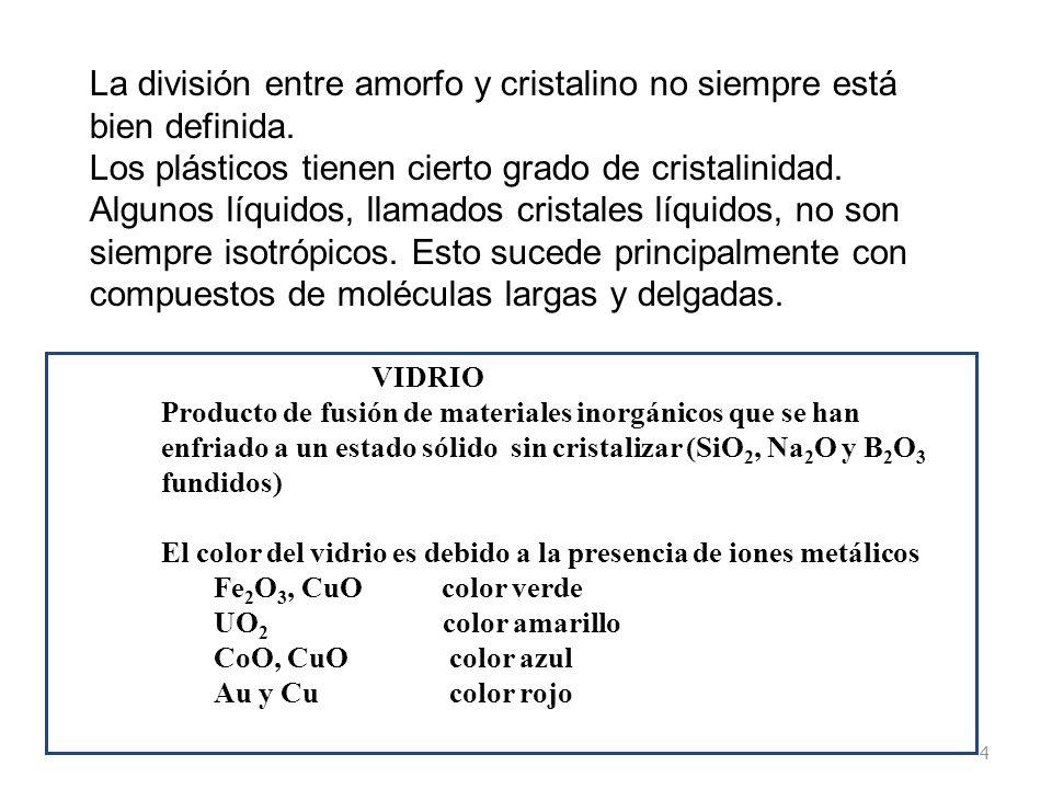 La división entre amorfo y cristalino no siempre está bien definida.