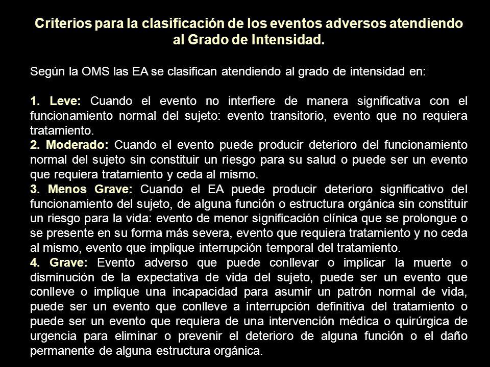 Clasificación atendiendo al grado de intensidad de los eventos adversos es según (Common Terminology Criteria for Adverse Events v 3.0) (CTCAEv3.0) del Instituto Nacional de Cáncer de EUA.