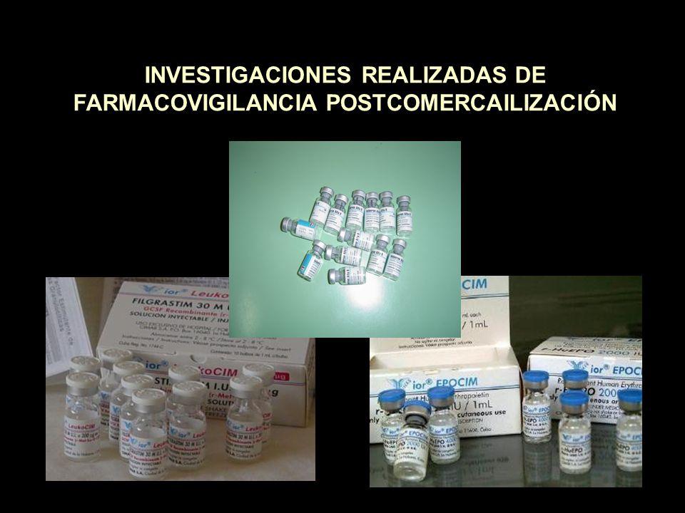 INVESTIGACIONES REALIZADAS DE FARMACOVIGILANCIA POSTCOMERCAILIZACIÓN
