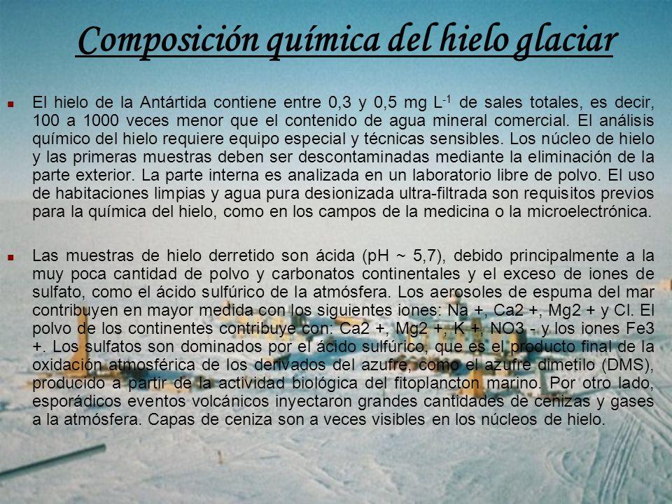 Composición química del hielo glaciar El hielo de la Antártida contiene entre 0,3 y 0,5 mg L -1 de sales totales, es decir, 100 a 1000 veces menor que el contenido de agua mineral comercial.