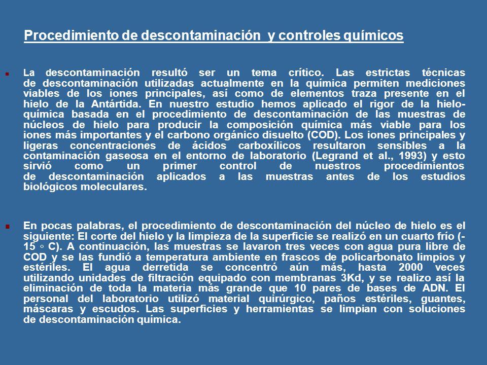 Procedimiento de descontaminación y controles químicos La d escontaminación resultó ser un tema crítico.
