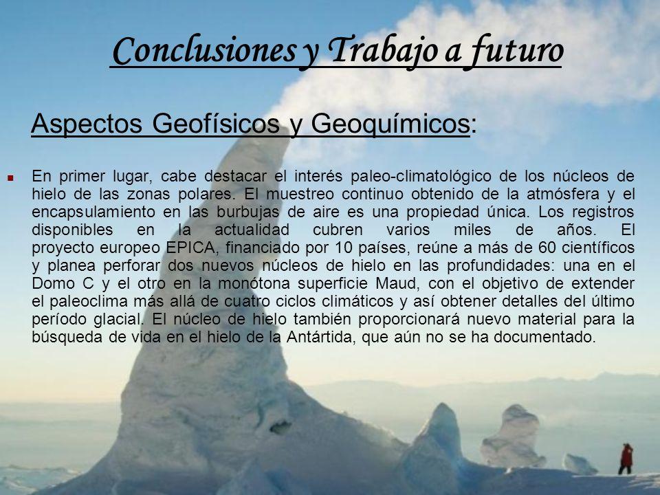Conclusiones y Trabajo a futuro Aspectos Geofísicos y Geoquímicos: En primer lugar, cabe destacar el interés paleo-climatológico de los núcleos de hie