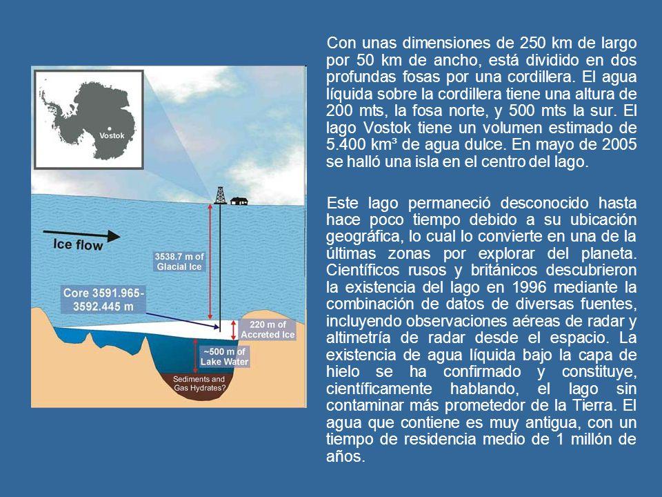 Con unas dimensiones de 250 km de largo por 50 km de ancho, está dividido en dos profundas fosas por una cordillera. El agua líquida sobre la cordille