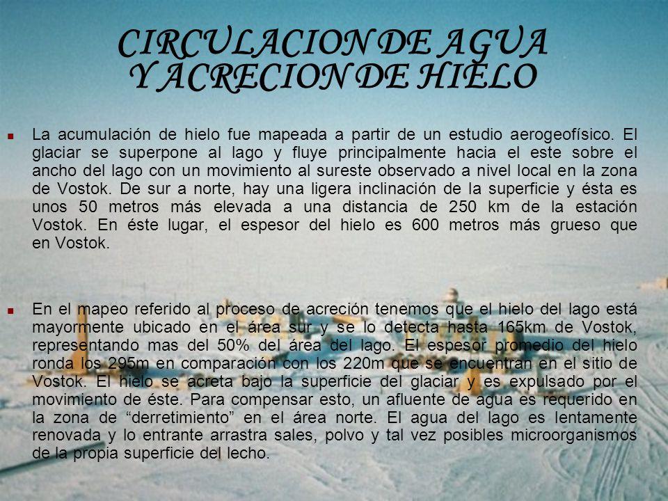 La acumulación de hielo fue mapeada a partir de un estudio aerogeofísico. El glaciar se superpone al lago y fluye principalmente hacia el este sobre e