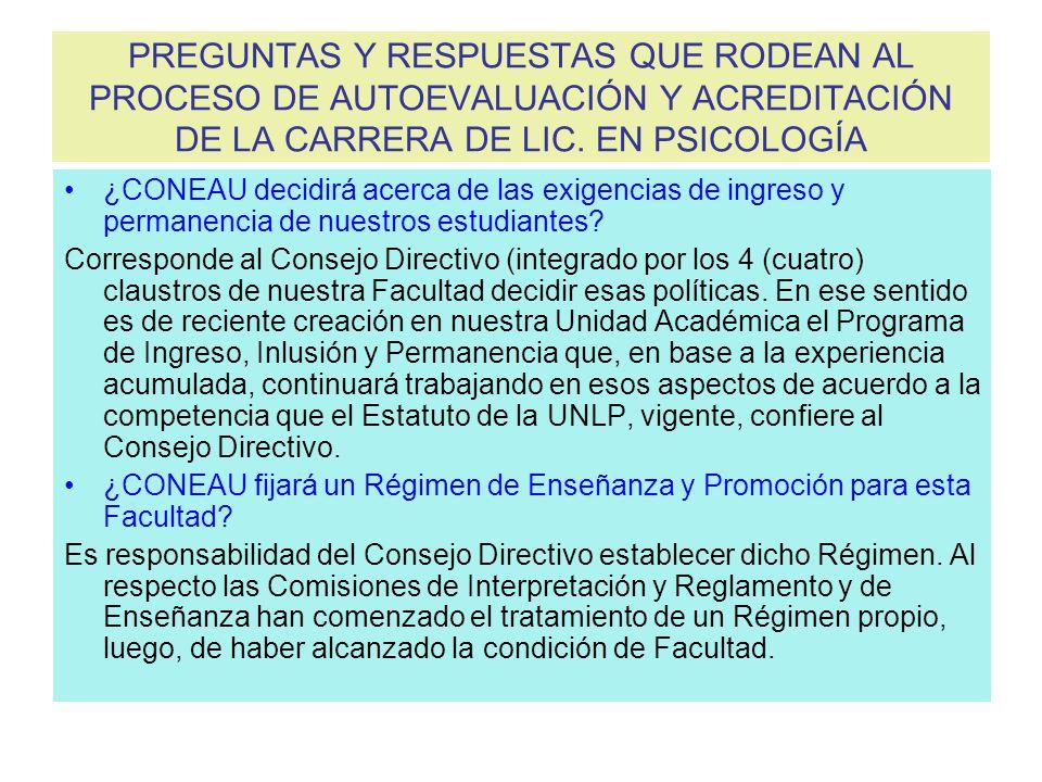 PREGUNTAS Y RESPUESTAS QUE RODEAN AL PROCESO DE AUTOEVALUACIÓN Y ACREDITACIÓN DE LA CARRERA DE LIC.