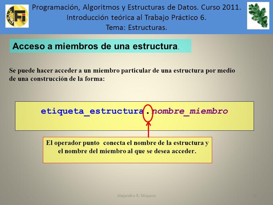 Alejandro R. Moyano10 etiqueta_estructura. nombre_miembro El operador punto conecta el nombre de la estructura y el nombre del miembro al que se desea