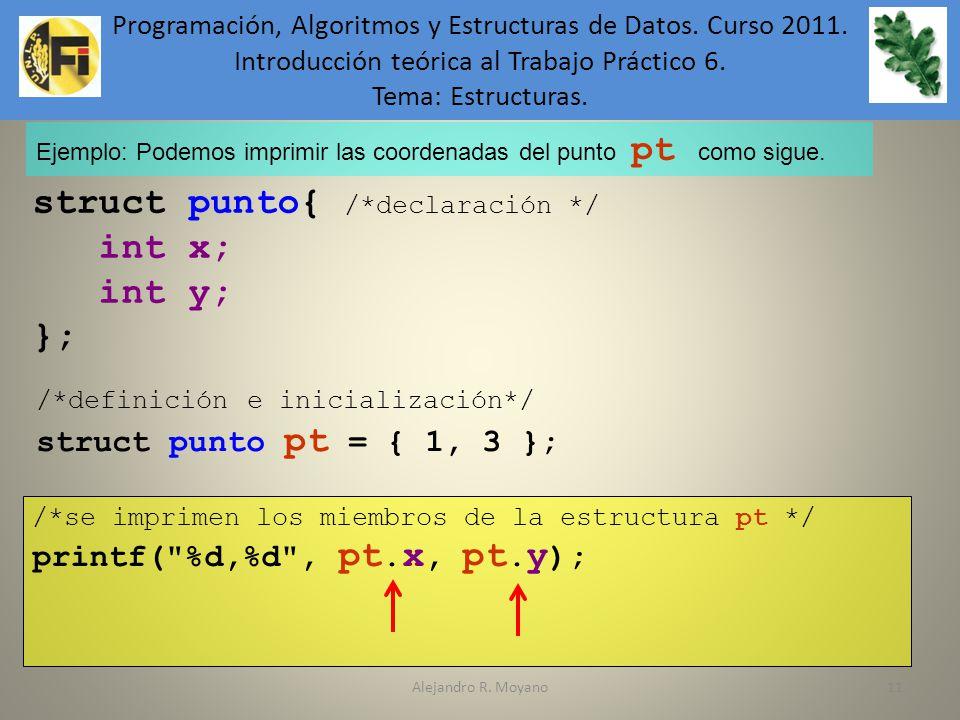 Alejandro R. Moyano11 Ejemplo: Podemos imprimir las coordenadas del punto pt como sigue. struct punto{ /*declaración */ int x; int y; }; /*definición