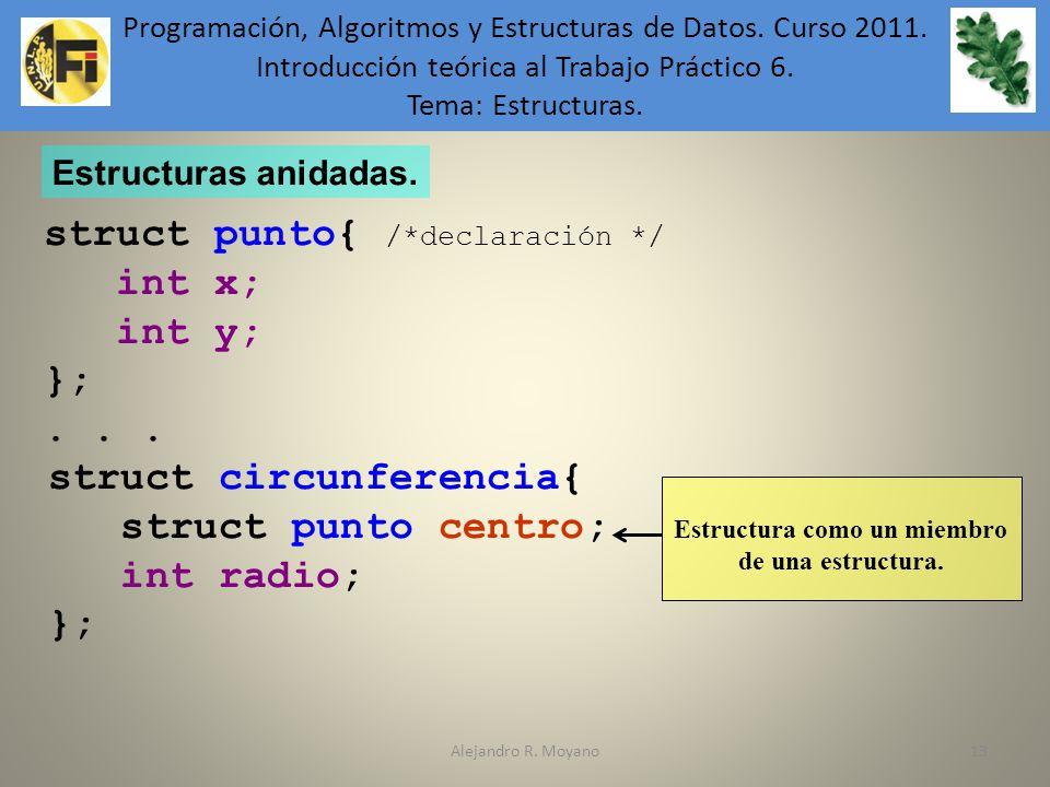 Alejandro R. Moyano13 Estructuras anidadas. struct circunferencia{ struct punto centro; int radio; }; struct punto{ /*declaración */ int x; int y; };.