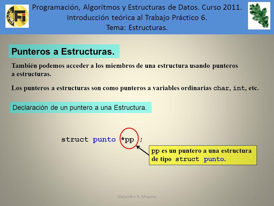 Alejandro R. Moyano15 Punteros a Estructuras. También podemos acceder a los miembros de una estructura usando punteros a estructuras. Los punteros a e