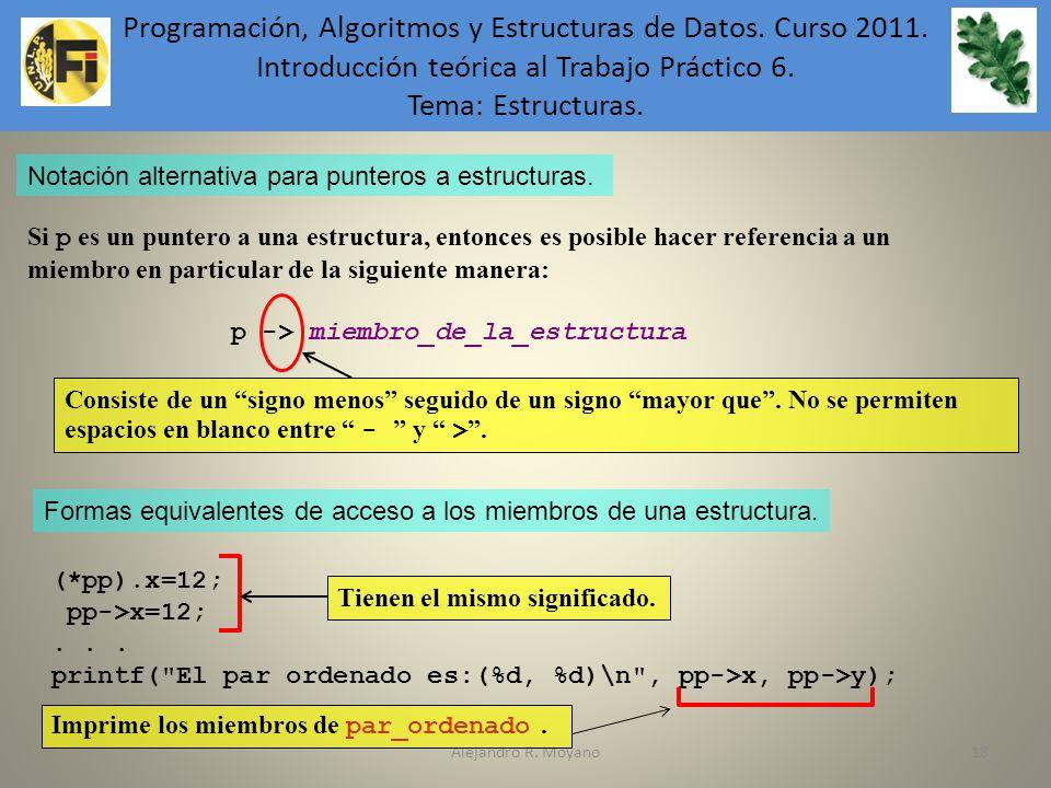 Alejandro R. Moyano18 Notación alternativa para punteros a estructuras. Si p es un puntero a una estructura, entonces es posible hacer referencia a un