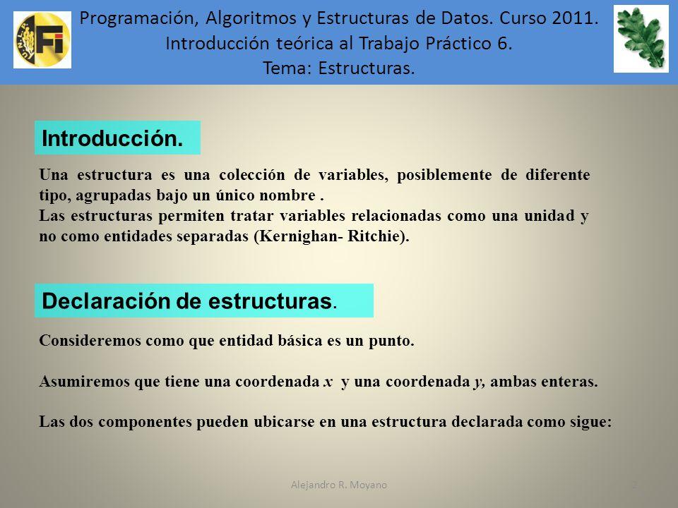 Alejandro R. Moyano2 Programación, Algoritmos y Estructuras de Datos. Curso 2011. Introducción teórica al Trabajo Práctico 6. Tema: Estructuras. Una e