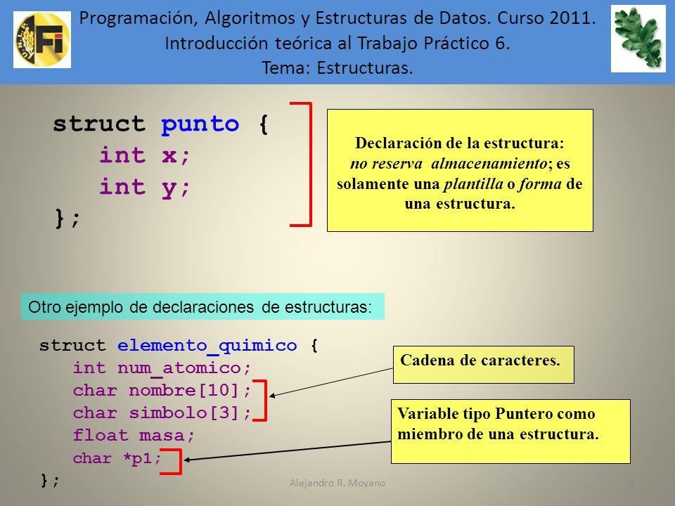 Alejandro R. Moyano44 struct punto { int x; int y; }; Declaración de la estructura: no reserva almacenamiento; es solamente una plantilla o forma de u