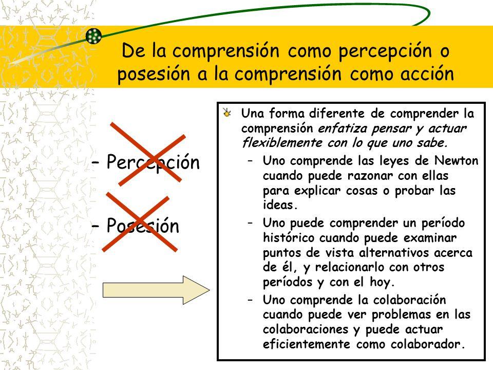 De la comprensión como percepción o posesión a la comprensión como acción –Percepción –Posesión Una forma diferente de comprender la comprensión enfat