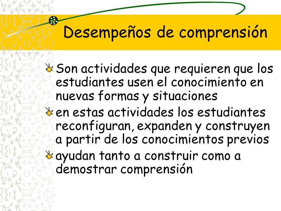 Desempeños de comprensión Son actividades que requieren que los estudiantes usen el conocimiento en nuevas formas y situaciones en estas actividades l
