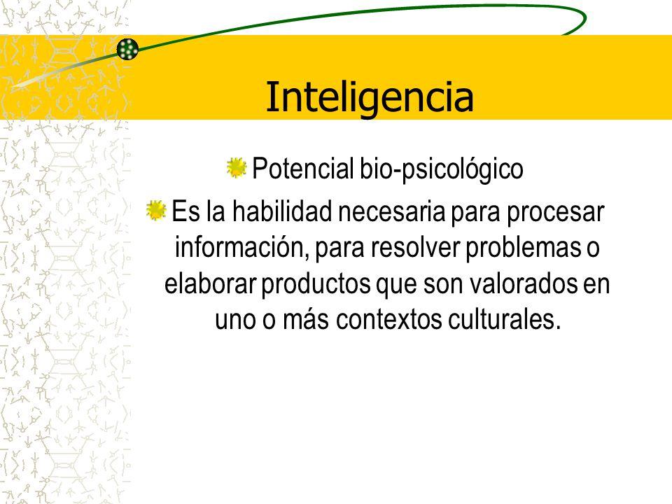 Inteligencia Potencial bio-psicológico Es la habilidad necesaria para procesar información, para resolver problemas o elaborar productos que son valor