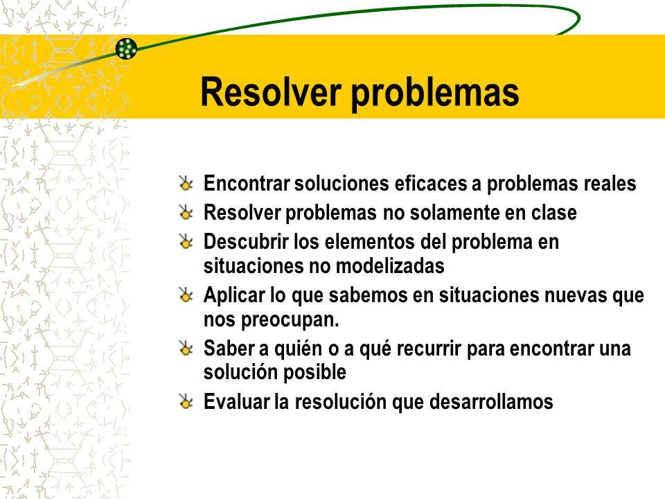 Resolver problemas Encontrar soluciones eficaces a problemas reales Resolver problemas no solamente en clase Descubrir los elementos del problema en s