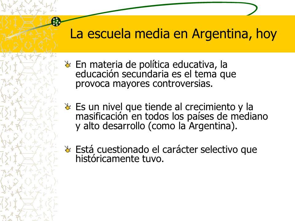 La escuela media en Argentina, hoy En materia de política educativa, la educación secundaria es el tema que provoca mayores controversias. Es un nivel