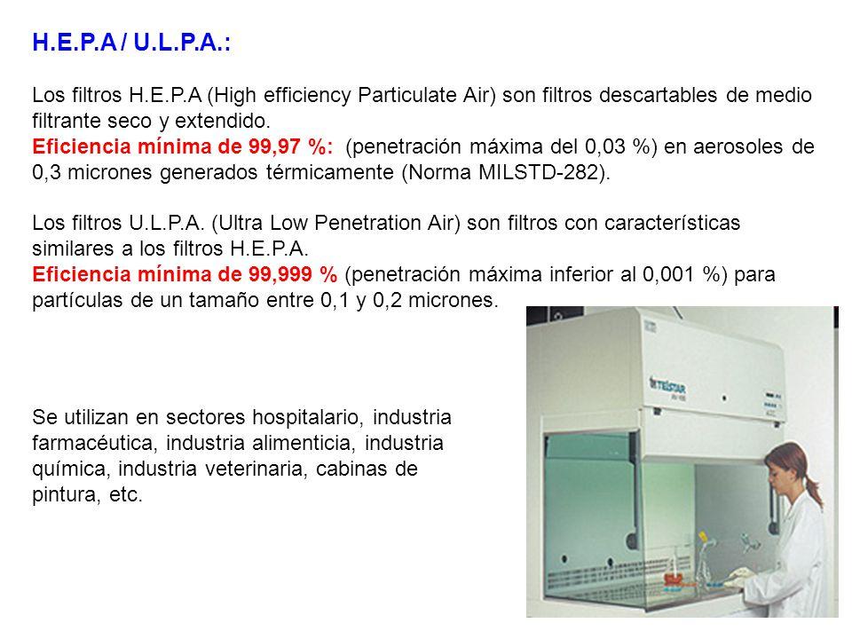 H.E.P.A / U.L.P.A.: Los filtros H.E.P.A (High efficiency Particulate Air) son filtros descartables de medio filtrante seco y extendido. Eficiencia mín