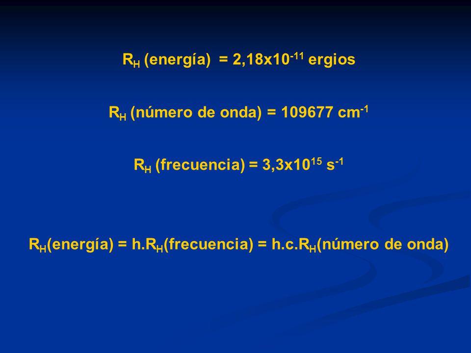 R H (energía) = 2,18x10 -11 ergios R H (número de onda) = 109677 cm -1 R H (frecuencia) = 3,3x10 15 s -1 R H (energía) = h.R H (frecuencia) = h.c.R H