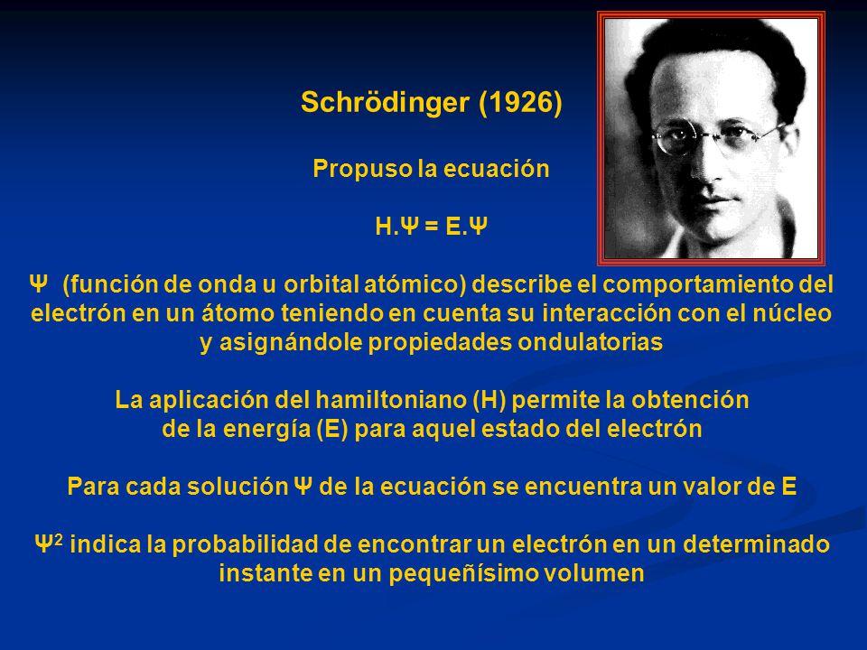 Schrödinger (1926) Propuso la ecuación H.Ψ = E.Ψ Ψ (función de onda u orbital atómico) describe el comportamiento del electrón en un átomo teniendo en