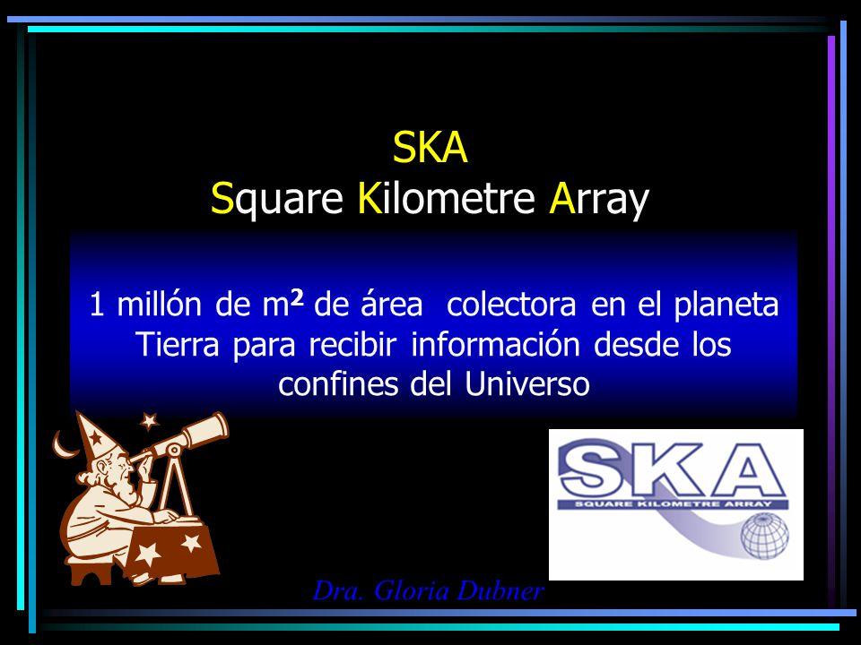 SKA Square Kilometre Array 1 millón de m 2 de área colectora en el planeta Tierra para recibir información desde los confines del Universo Dra. Gloria