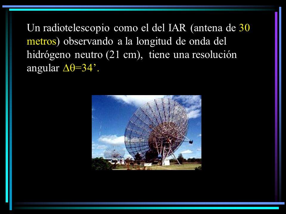 Un radiotelescopio como el del IAR (antena de 30 metros) observando a la longitud de onda del hidrógeno neutro (21 cm), tiene una resolución angular =