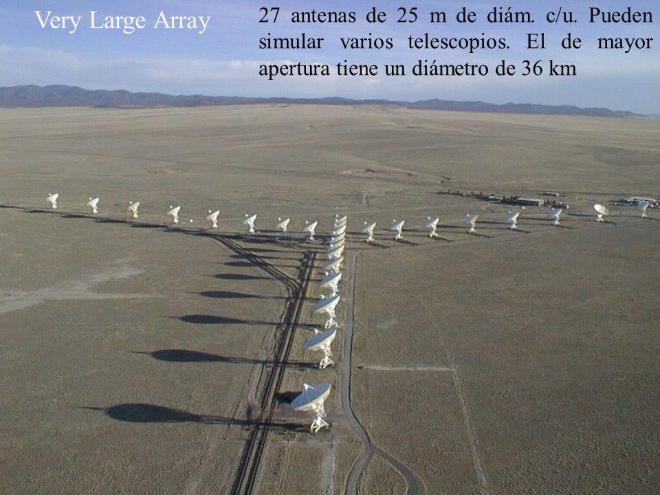 27 antenas de 25 m de diám. c/u. Pueden simular varios telescopios. El de mayor apertura tiene un diámetro de 36 km Very Large Array