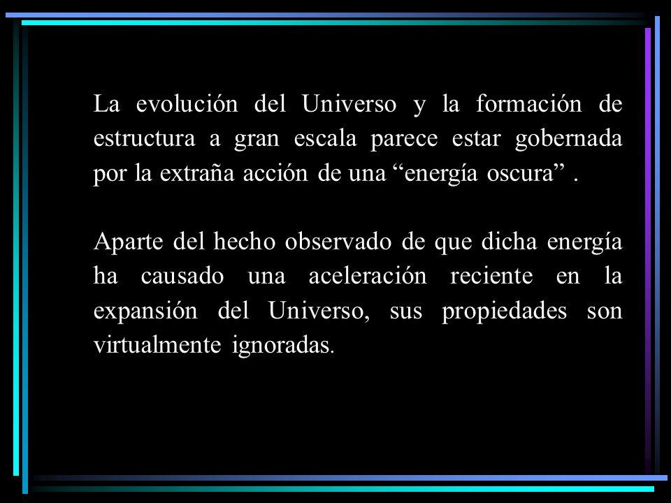 La evolución del Universo y la formación de estructura a gran escala parece estar gobernada por la extraña acción de una energía oscura. Aparte del he
