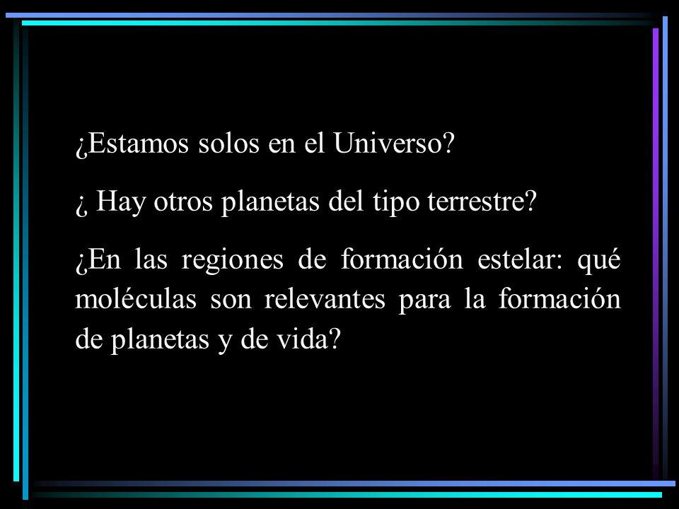 ¿Estamos solos en el Universo? ¿ Hay otros planetas del tipo terrestre? ¿En las regiones de formación estelar: qué moléculas son relevantes para la fo
