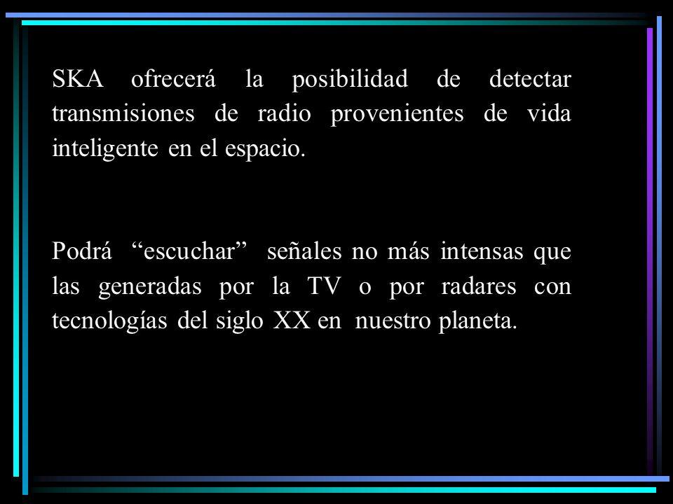 SKA ofrecerá la posibilidad de detectar transmisiones de radio provenientes de vida inteligente en el espacio. Podrá escuchar señales no más intensas