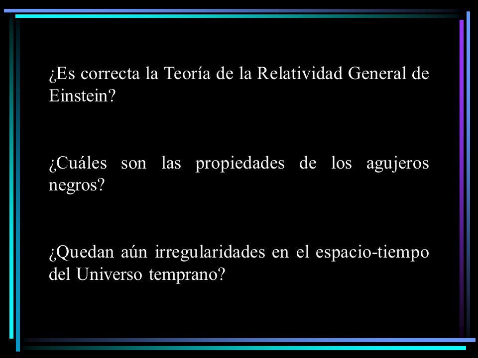 ¿Es correcta la Teoría de la Relatividad General de Einstein? ¿Cuáles son las propiedades de los agujeros negros? ¿Quedan aún irregularidades en el es