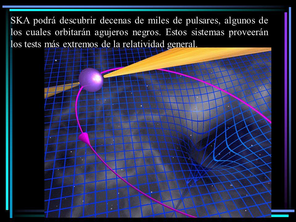 SKA podrá descubrir decenas de miles de pulsares, algunos de los cuales orbitarán agujeros negros. Estos sistemas proveerán los tests más extremos de