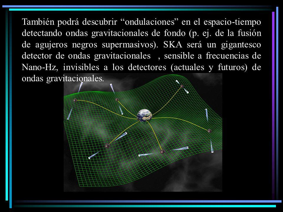 También podrá descubrir ondulaciones en el espacio-tiempo detectando ondas gravitacionales de fondo (p. ej. de la fusión de agujeros negros supermasiv