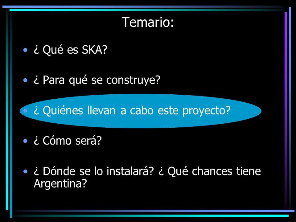 ¿ Qué es SKA? ¿ Para qué se construye? ¿ Quiénes llevan a cabo este proyecto? ¿ Cómo será? ¿ Dónde se lo instalará? ¿ Qué chances tiene Argentina? Tem