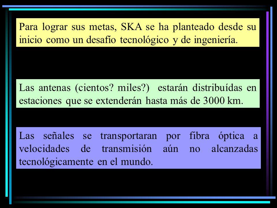 Las señales se transportaran por fibra óptica a velocidades de transmisión aún no alcanzadas tecnológicamente en el mundo. Para lograr sus metas, SKA