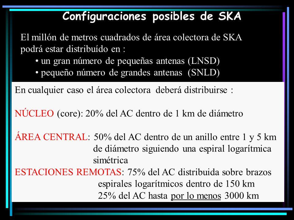 Configuraciones posibles de SKA El millón de metros cuadrados de área colectora de SKA podrá estar distribuído en : un gran número de pequeñas antenas