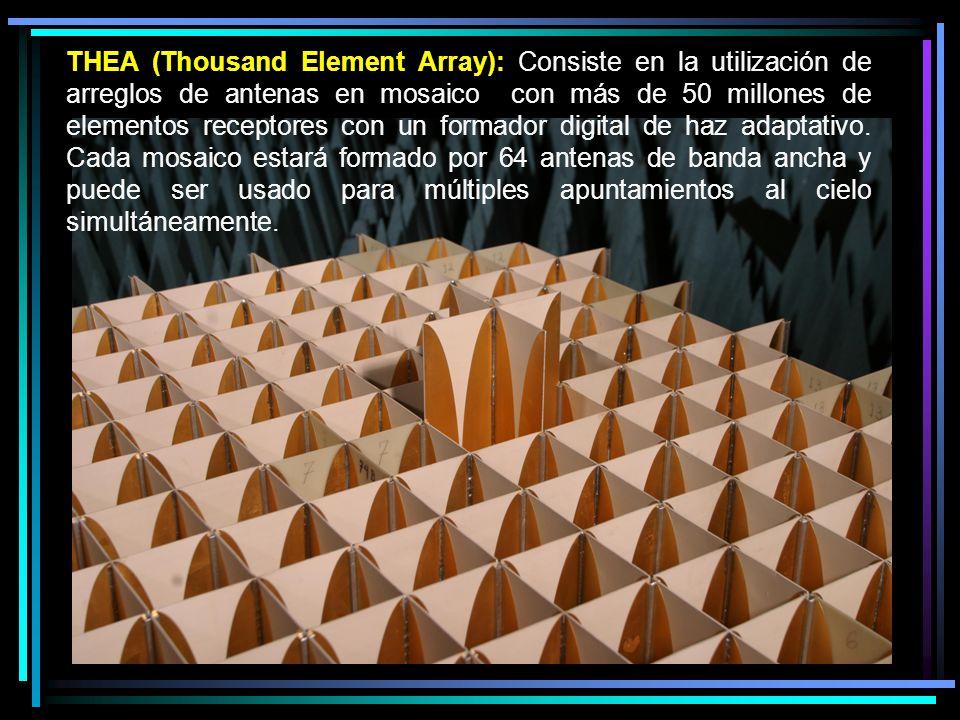 THEA (Thousand Element Array): Consiste en la utilización de arreglos de antenas en mosaico con más de 50 millones de elementos receptores con un form