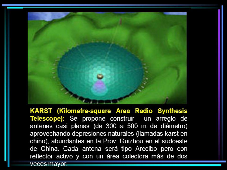 KARST (Kilometre-square Area Radio Synthesis Telescope): Se propone construir un arreglo de antenas casi planas (de 300 a 500 m de diámetro) aprovecha