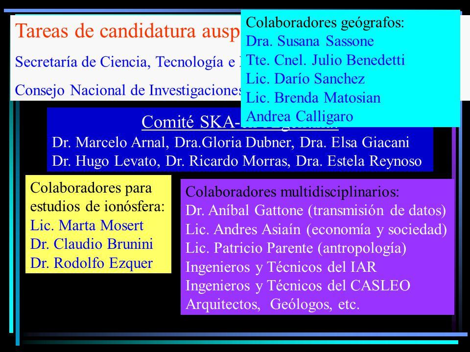 Comité SKA-en Argentina: Dr. Marcelo Arnal, Dra.Gloria Dubner, Dra. Elsa Giacani Dr. Hugo Levato, Dr. Ricardo Morras, Dra. Estela Reynoso Colaboradore
