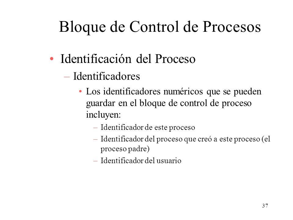 37 Bloque de Control de Procesos Identificación del Proceso –Identificadores Los identificadores numéricos que se pueden guardar en el bloque de contr