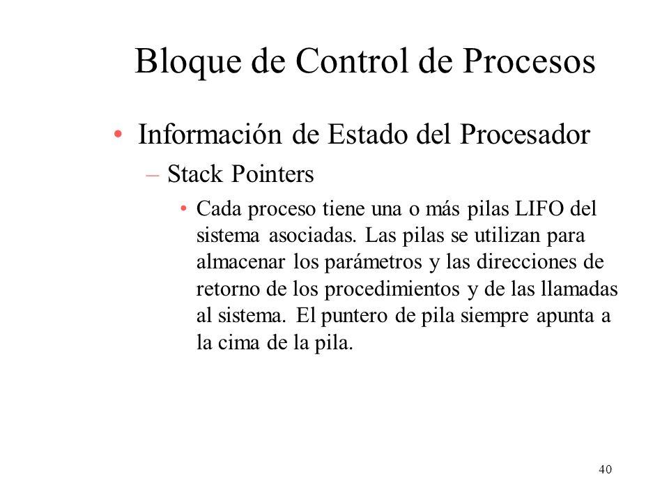 40 Bloque de Control de Procesos Información de Estado del Procesador –Stack Pointers Cada proceso tiene una o más pilas LIFO del sistema asociadas. L