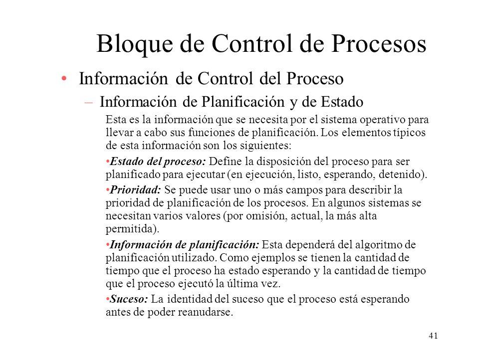 41 Bloque de Control de Procesos Información de Control del Proceso –Información de Planificación y de Estado Esta es la información que se necesita p